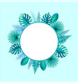 empty round frame spare place for text palm leaf vector image vector image