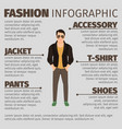 fashion infographic with man in jacket vector image vector image