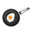 fried eggs in a frying pan isolated on a white vector image vector image
