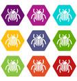 garden beetle bug icons set 9 vector image