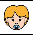 girl baby face with pacifier avatar icon vector image