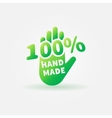 Hand made green label or sign vector image