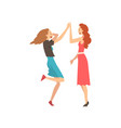 happy girls giving high five happy meeting vector image vector image