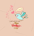 happy valentines with bird greeting card vector image vector image