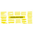 highlighter collection marker yellow set vector image vector image