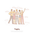 male female friends hugging back view vector image