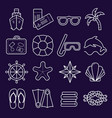 marine set of icons icons isolated on dark vector image vector image