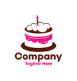 modern chocolate cake with a candle logo vector image