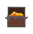 opened antique chest full of golden coins and vector image vector image