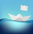 paper boat with a white flag floats on the water vector image vector image