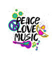 peace love music lettering with cartoon stickers vector image vector image