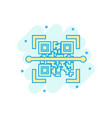 qr code scan icon in comic style scanner id vector image vector image
