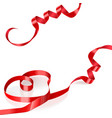 red satin ribbon in the shape of heart vector image vector image