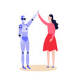 robot android and woman friendly greeting flat vector image vector image