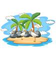 scene with pelican birds on island vector image vector image