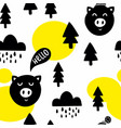 seamless pattern with cute pigs in the forest vector image