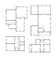 set of different black and white house floor plans vector image