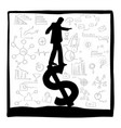 silhouette businessman standing on dollar sign vector image vector image