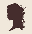 silhouette of beautiful curly african woman vector image