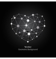 silver heart made connected lines and dots vector image vector image