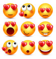 smiley emoji with red heart set valentines vector image