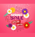 spring sale special offer blank round frame with vector image