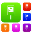 symbol of hospital road sign set collection vector image vector image