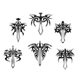 tattoo with swords and daggers vector image