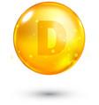 Vitamin D glitter gold icon vector image