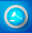 white judge gavel icon isolated on blue background vector image vector image