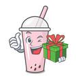 With gift raspberry bubble tea character cartoon