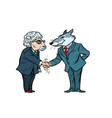 wolf and sheep business negotiations friendship vector image vector image