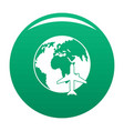 world tourism icon green vector image vector image