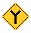 y -junction traffic road sign vector image vector image
