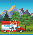 young people traveling on road vector image vector image