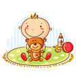baby and teddy bear vector image