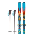 Ski and sticks vector image