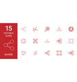 15 share icons vector image vector image