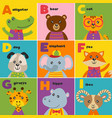 alphabet card with cute animals a to i vector image vector image