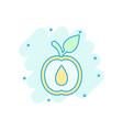 apricot fruit icon in comic style peach dessert vector image