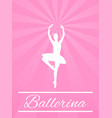 ballerina silhouette on simple pink background vector image