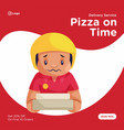 banner design of pizza on time vector image