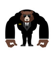 bear bodyguard in black suit strong grizzly guard vector image vector image