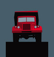 big red truck on road front view vector image vector image