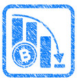 bitcoin falling acceleration chart framed stamp vector image vector image