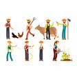 cartoon farmer and gardeners with tools and farm vector image