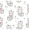 cat mermaid seamless pattern happy twins vector image