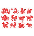 chinese horoscope or zodiac animal symbols vector image