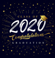 class 2020 calligraphy graduating golden card vector image vector image