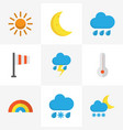 climate flat icons set collection of temperature vector image vector image